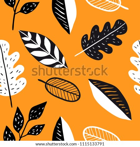 Vector seamless pattern with doodle leaves. Autumn collection. Flower graphic design.  Hand drawn vector botany texture. Modern fall seasonal decor