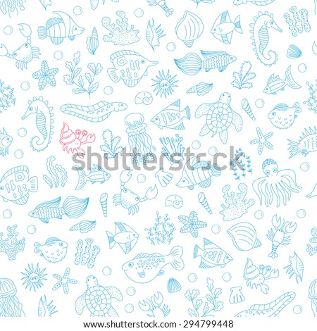 vector seamless pattern with doodle underwater animals and plants on white background. hand drawn illustration for background, fabric, print.