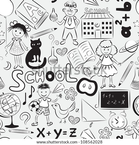 Vector seamless pattern with doodles of children and different  school things