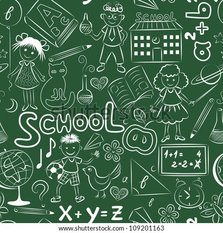 Vector seamless pattern with doodles on the school blackboard