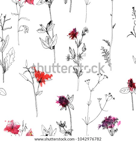Vector seamless pattern with drawing wild plants, herbs and flowers and paint stains, botanical illustration, natural floral background