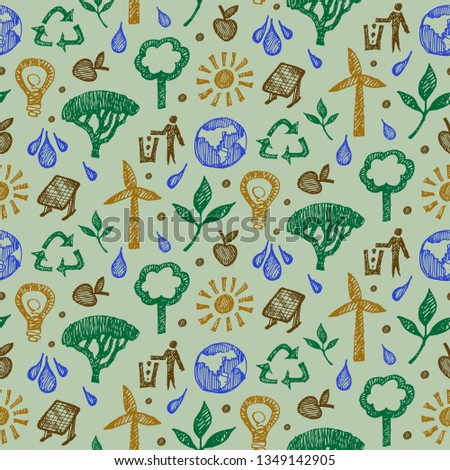 Vector seamless pattern with eco on green background