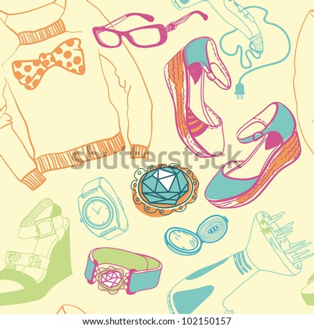 vector seamless pattern with fashion cloth, shoes and accessories