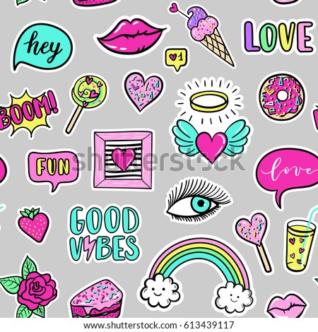 Vector seamless pattern with fashion fun patches: lip, star, strawberry, speech bubble on background. Pop art stickers, patches, pins, badges 80s-90s style #613439117