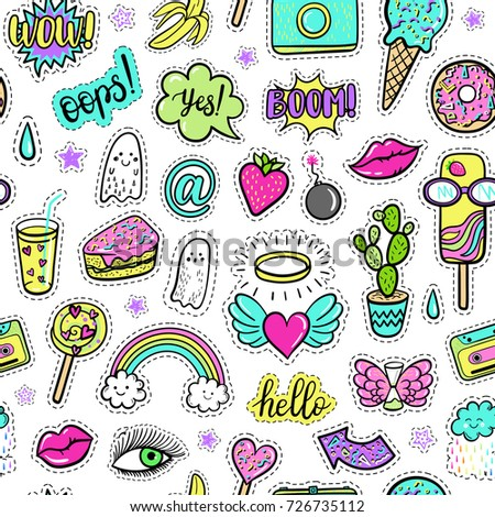 Vector seamless pattern with fashion fun patches: rainbow, doughnut, cloud, cake, lip, ice cream, cactus, watermelon, camera, strawberry on background. Pop art stickers, patches, badges 80s-90s style