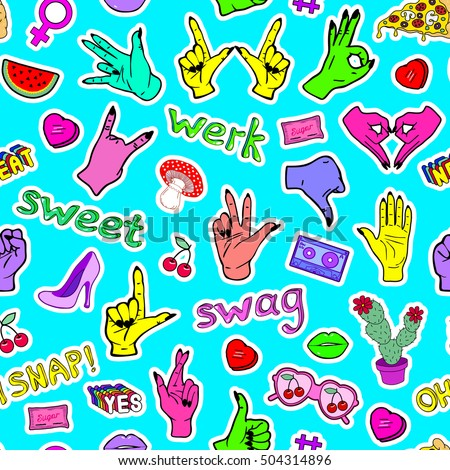 Vector seamless pattern with fashion patch badges with hands, slang words and phrases and other elements. Wallpaper with stickers, pins, patches in cartoon 80s-90s comic style. #504314896