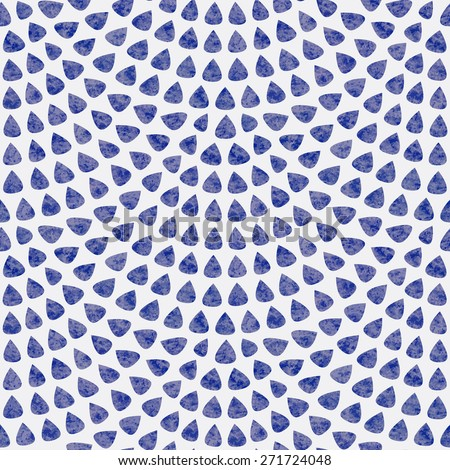 Vector seamless pattern with fish scale layout. Blue drop-shaped elements with watercolor texture on light grey background