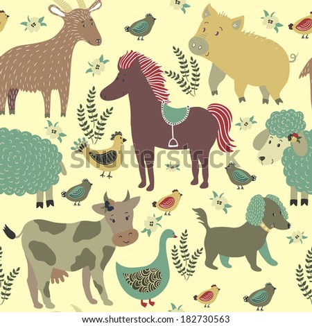 Vector seamless pattern with floral elements and cute farm animals: cow, horse, pig, sheep, goat, dog, hen with chickens, goose