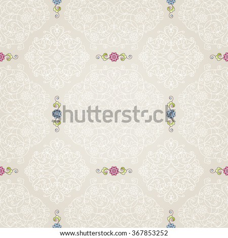Vector seamless pattern with floral ornament. Vintage design element in Eastern style. Ornamental lace tracery. Ornate decor for wallpaper. Traditional arabic decor on beige background.
