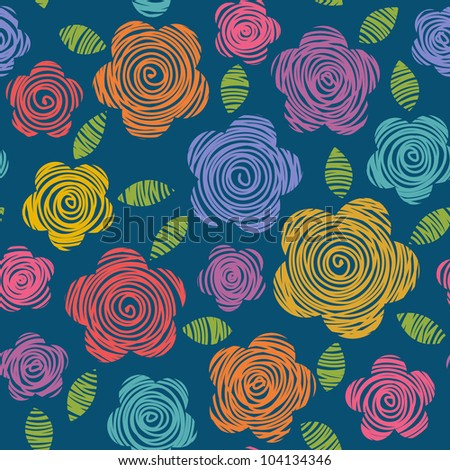 Vector seamless pattern with flowers and leaves of doodles made using stencil. Abstract bright summery simple illustration. Floral colorful background in hand draw childish style.