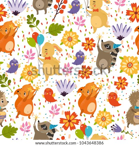 vector seamless pattern with flowers, birds, animals, dog, hedgehog, raccoon, squirrel, fox. birthday, bright colors, spring, summer background. use for wallpaper, deca ration, textiles, fabrics Сток-фото ©