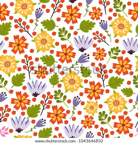 vector seamless pattern with flowers, bright colors, spring, summer backdrop. use for wallpaper, deca ration, textiles, fabrics, packaging Сток-фото ©