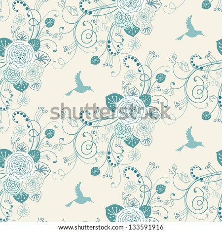 Vector seamless pattern with flowers, leaves and bird. Cute floral background. Stylized garden with branches of blooming tree in tints of blue. Abstract ornamental decorative texture for print, web