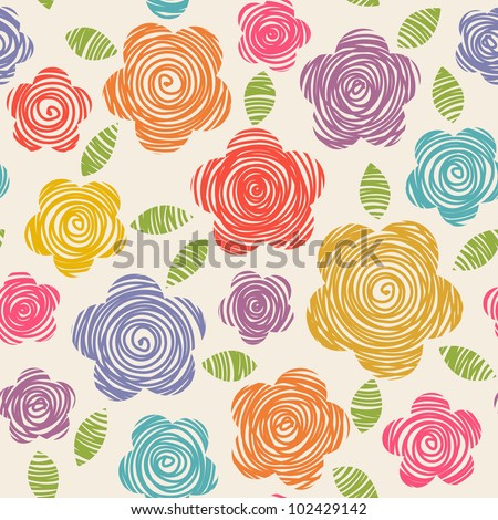 Vector seamless pattern with flowers of doodles made using stencil. Floral colorful background in hand draw childish style. Abstract summery simple illustration