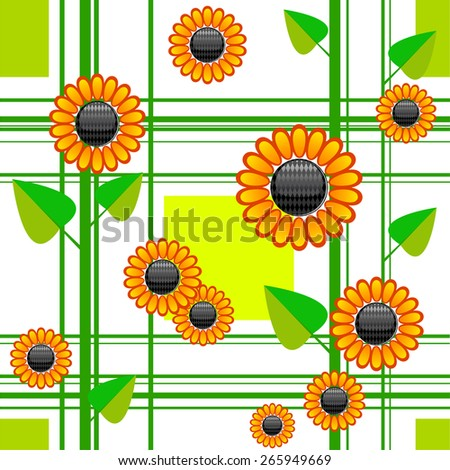 vector seamless  pattern with flowers sunflower with squares