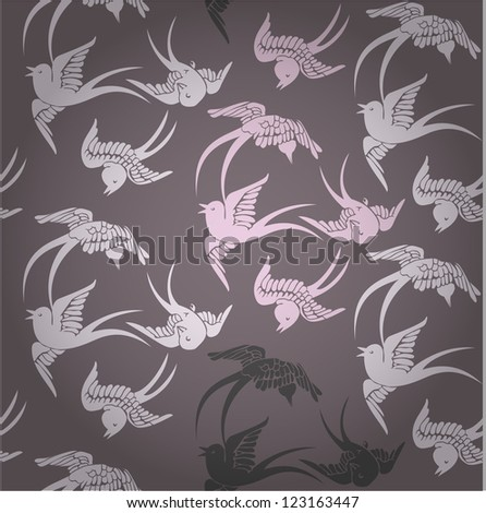 Vector seamless pattern with flying birds. Chinese style