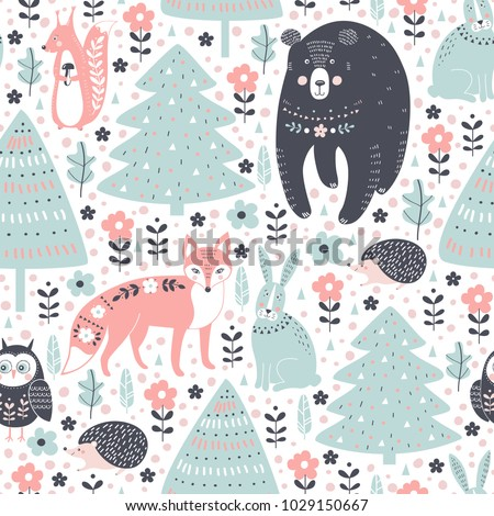 Vector seamless pattern with forest animals: fox, bear, rabbit, squirrel, hedgehog, owl on white background.