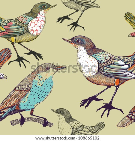 vector seamless pattern with forest birds