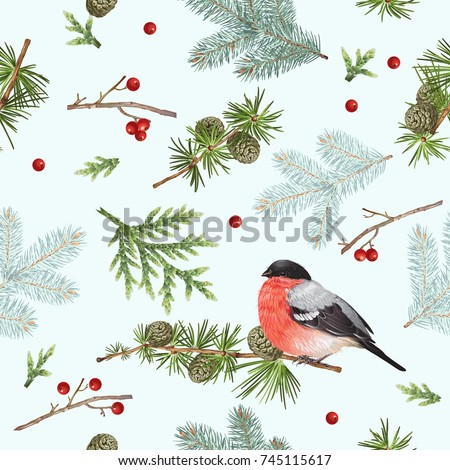 Vector seamless pattern with forest branches and bullfinch on white. Highly detailed winter background design for Christmas, new year, festive products. Best for wrapping paper, fabric, wall paper