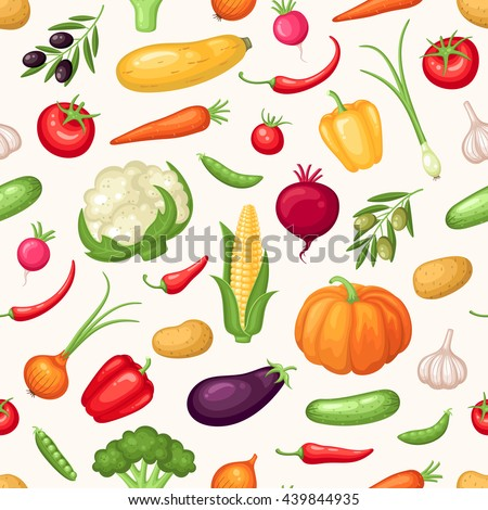 Vector seamless pattern with fresh organic vegetables  #439844935