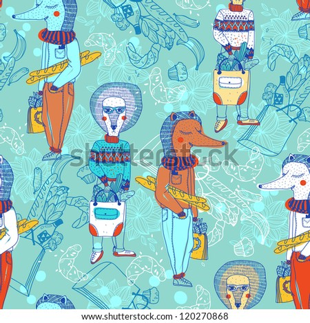 vector seamless pattern with funny animals and shopping bags