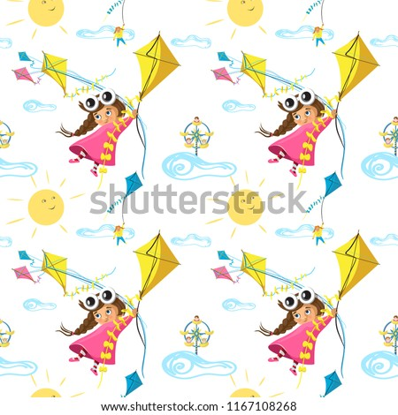 stock-vector-vector-seamless-pattern-with-funny-little-girl-flying-with-a-kite-in-cartoon-ideal-for-cards