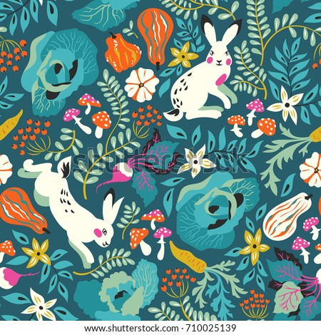 Vector seamless pattern with funny white rabbits, flowers, fly-agaric and  vegetables: cabbage, decorative pumpkin, carrots, beets. Lovely design for textiles