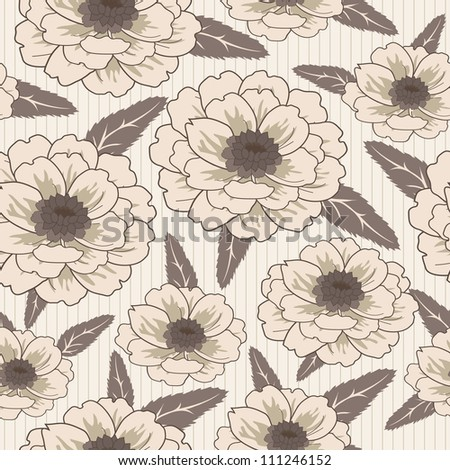 Vector seamless pattern with garden dahlia flowers