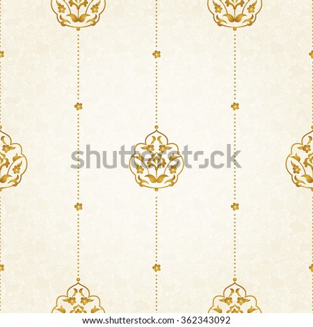 Vector seamless pattern with golden floral ornament. Vintage design element in Eastern style. Ornamental lace tracery. Ornate decor for wallpaper. Traditional arabic decor on light background.