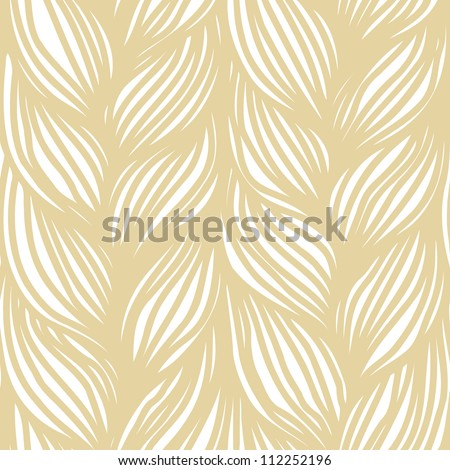 Vector seamless pattern with hairstyle of light brown plaits. Abstract illustration of interweaving of braids. Stylized textured yarn close-up. Ornamental background in the shape of a knitted fabric.