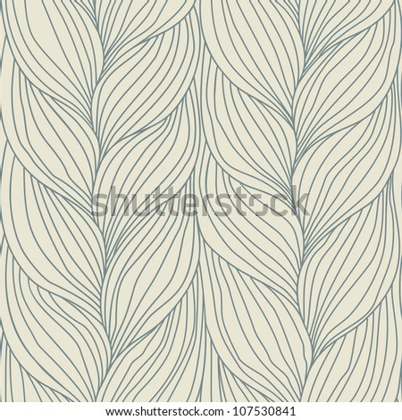 Vector seamless pattern with hairstyle of plait. Abstract illustration of interweaving of braids. Ornamental background in the form of a knitted fabric. Stylized textured yarn close-up. - stock vector