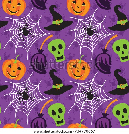 Vector seamless pattern with Halloween symbols: spiderweb, pumpkin, skull, spider, broom and magic hat. Design elements for halloween party poster.