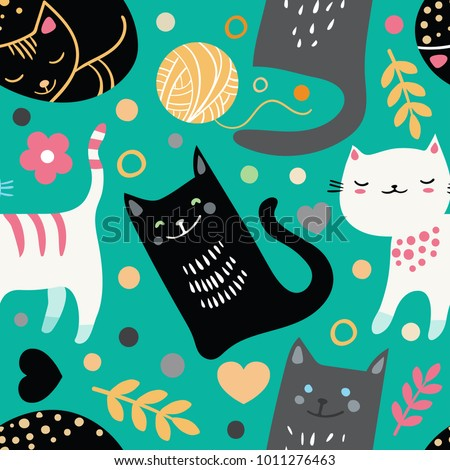 Vector seamless pattern with hand draw textured cats in graphic doodle style. Colored endless background. Eps-8