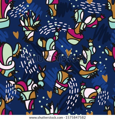 Vector seamless pattern with hand drawing different cactus and abstract shapes.Colorful botanical repeated texture with cute cacti. Repeatable background for fabric,prints,wallpaper,bedding.