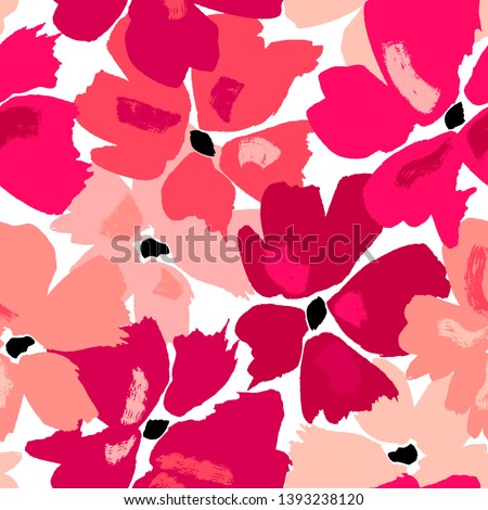 Vector seamless pattern with hand drawing wild flowers, colorful botanical illustration, floral elements, hand drawn repeatable background. Artistic backdrop.