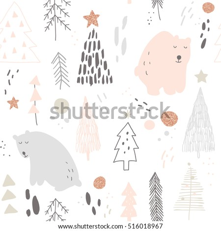 vector seamless pattern with hand drawn bears and Christmas trees