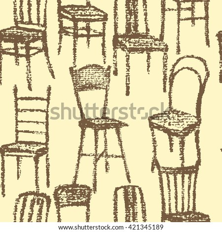 Vector Seamless Pattern With Hand Drawn Chairs Beautiful Interior Design Elements Perfect For Prints