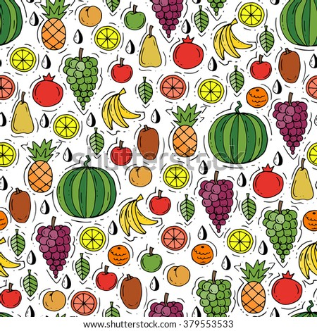 Vector seamless pattern with hand drawn colored fruits. Pattern on the theme of fresh food. Background for use in design, packing, web site, fabric