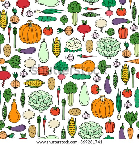 Vector seamless pattern with hand drawn colored vegetables. Pattern on the theme of useful and organic food. Background for use in design, packing, web site, textile, fabrics #369281741