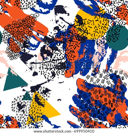 Vector seamless pattern with hand drawn elements. Memphis style. Fashion texture.
