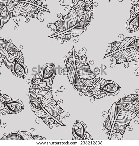 Vector seamless pattern with hand-drawn feathers, fully editable eps 10 file with clipping mask and seamless pattern in swatch menu