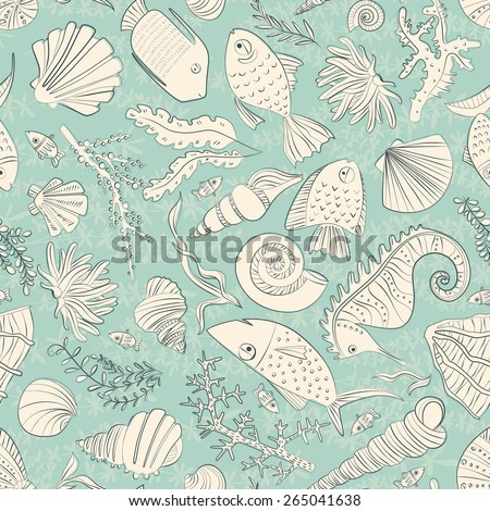 Vector seamless pattern with hand drawn fishes, corrals, shells, seaweeds, sea-horse and other underwater creatures. Ocean background. Tropical sea life design.