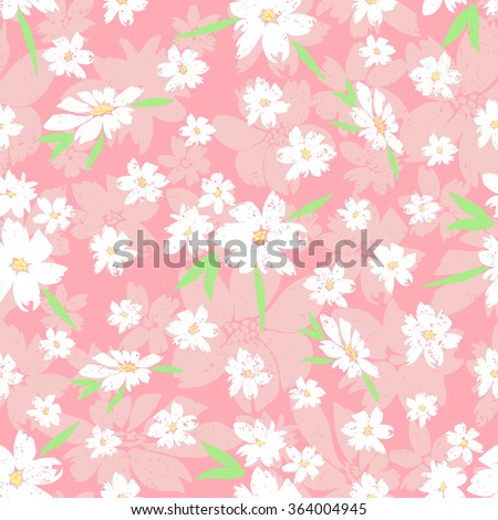 Vector seamless pattern with hand-drawn flowers, small white flowers on a background of large pink flowers