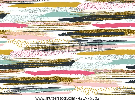 Vector seamless pattern with hand drawn gold glitter textured brush strokes and stripes hand painted. Black, gold, pink, green, brown colors.