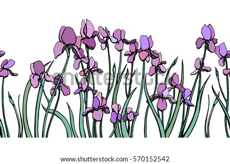 Hand draw iris flower illustration download free vector art vector seamless pattern with hand drawn graceful iris flowers horizontal endless pattern beautiful floral pronofoot35fo Choice Image