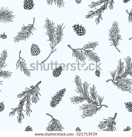 Vector seamless pattern with hand drawn pine branches and cones. Beautiful Christmas or winter design elements.