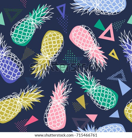 Vector seamless pattern with hand drawn pineapple fruits on colorful geometrical  background in Memphis style.Vector illustration for fabric, textile, wrapping paper and other decoration design.