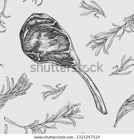 Vector seamless pattern with hand drawn raw beef rib and rosemary branches. Engraved pattern design with spices and meat cuts for steak house, restaurant and farm market packaging on gray background.