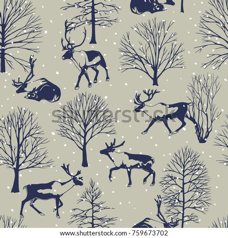 Vector seamless pattern with hand drawn reindeers in winter forest under the snow. Beautiful design elements, perfect for prints and patterns.