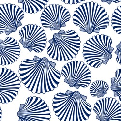 Vector seamless pattern with hand drawn scallop seashells. Beautiful marine design elements, perfect for prints and patterns.